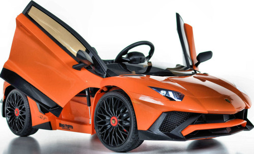 Toddler Lamborghini Ride On car w/ Leather Seat & Upgraded Motors - Orange