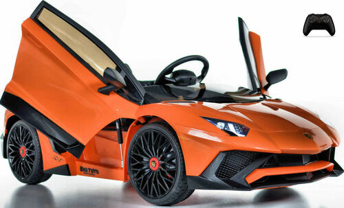 Toddler Lamborghini Toddler Ride On car w/ Leather Seat & Large Motors - Orange