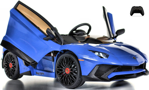 Toddler Lamborghini Ride On car w/ Leather Seat & Upgraded Motors - blue
