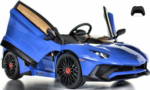 Toddler Lamborghini Ride On car w/ Leather Seat & Large Motors - blue