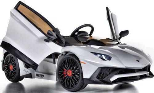 Toddler Lamborghini Ride On car w/ Leather Seat & Upgraded Motors - white