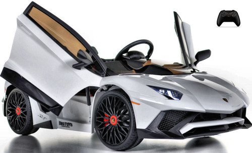 Toddler Lamborghini Ride On car w/ Leather Seat & Rubber Tires - white
