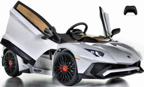 Toddler Lamborghini Ride On Car w/ Leather Seat & Large Motors - White