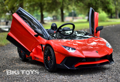 red Lambo with vertical working doors ride on car