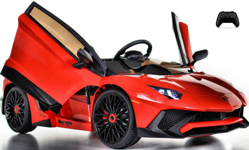 Toddler Lamborghini Ride On car w/ Leather Seat & Upgraded Motors - red