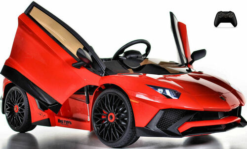 Toddler Lamborghini Ride On car w/ Leather Seat & Large Motors - red