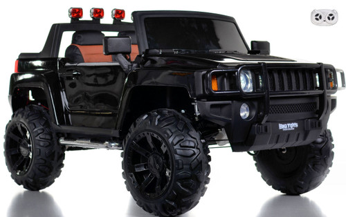 Black Ridge Runner toddler Ride On truck w/ doors front view white background w/ remote control rubber tires