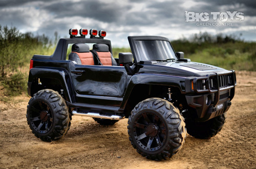 Kids Ridge Runner Ride On Pickup Truck w/ rubber tires 2 seats Black rubber tires remote controlled side view leather seat plastic brush guard