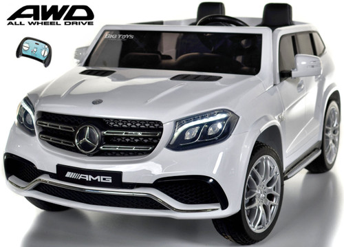 GLS 63 Mercedes-Benz AMG Ride On SUV w/ all wheel drive & 2 Seats white LED lights, MP3 player input, parental remote 3 Speeds Rubber Tires Leather Seats kids battery powered wheel