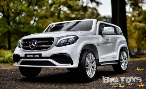 RC Remote Control white GLS 63 Mercedes-Benz ride on car w/ rubber tires leather seat