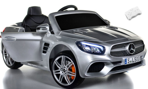 RC Remote Control silver SL 500 Mercedes-Benz ride on car w/ rubber tires leather seat