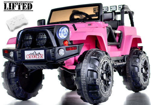 Lifted Ride on Crawler Truck with Big Wheels + Parental RC Remote - Pink