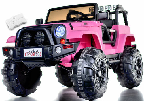 Lifted Ride On Crawler Truck w/ Big Wheels & Parental RC Remote - Pink