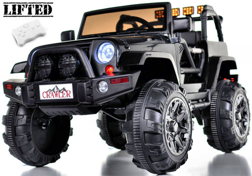Lifted Ride on Crawler Truck with Big Wheels + Parental RC Remote - Black