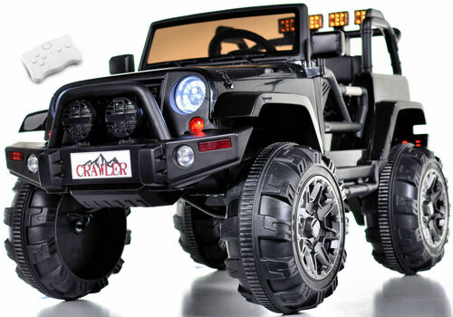 Lifted Ride On Crawler Truck w/ Big Wheels & Parental RC Remote - Black