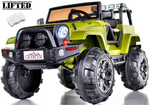 Lifted Ride On Crawler Truck w/ Big Wheels & Parental RC Remote - Green