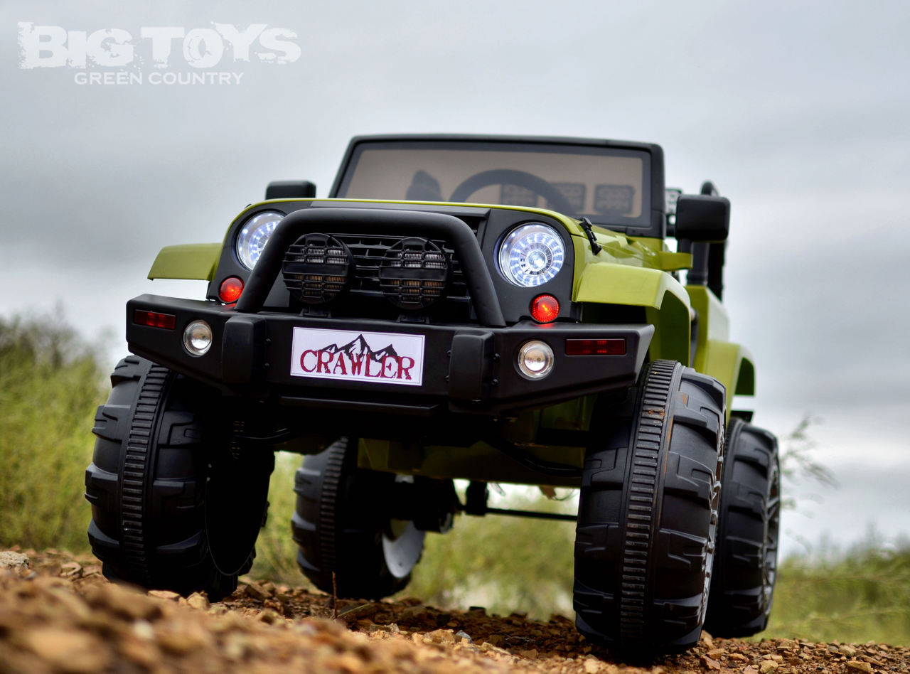 Lifted Ride On Crawler Truck W Big Wheels Parental Rc Remote Green Big Toys Green Country