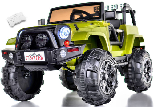 Lifted Ride on Crawler Truck with Big Wheels + Parental RC Remote - Green