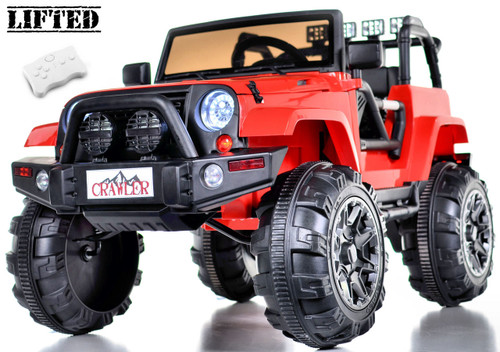 Lifted Ride on Crawler Truck with Big Wheels + Parental RC Remote - Red