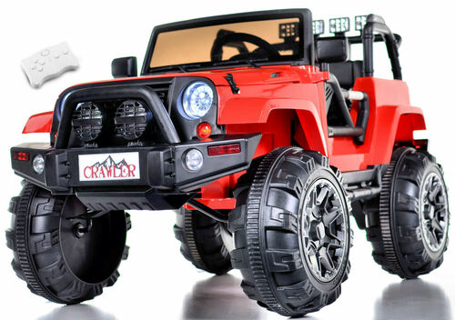 Lifted Ride On Crawler Truck w/ Big Wheels & Parental RC Remote - Red
