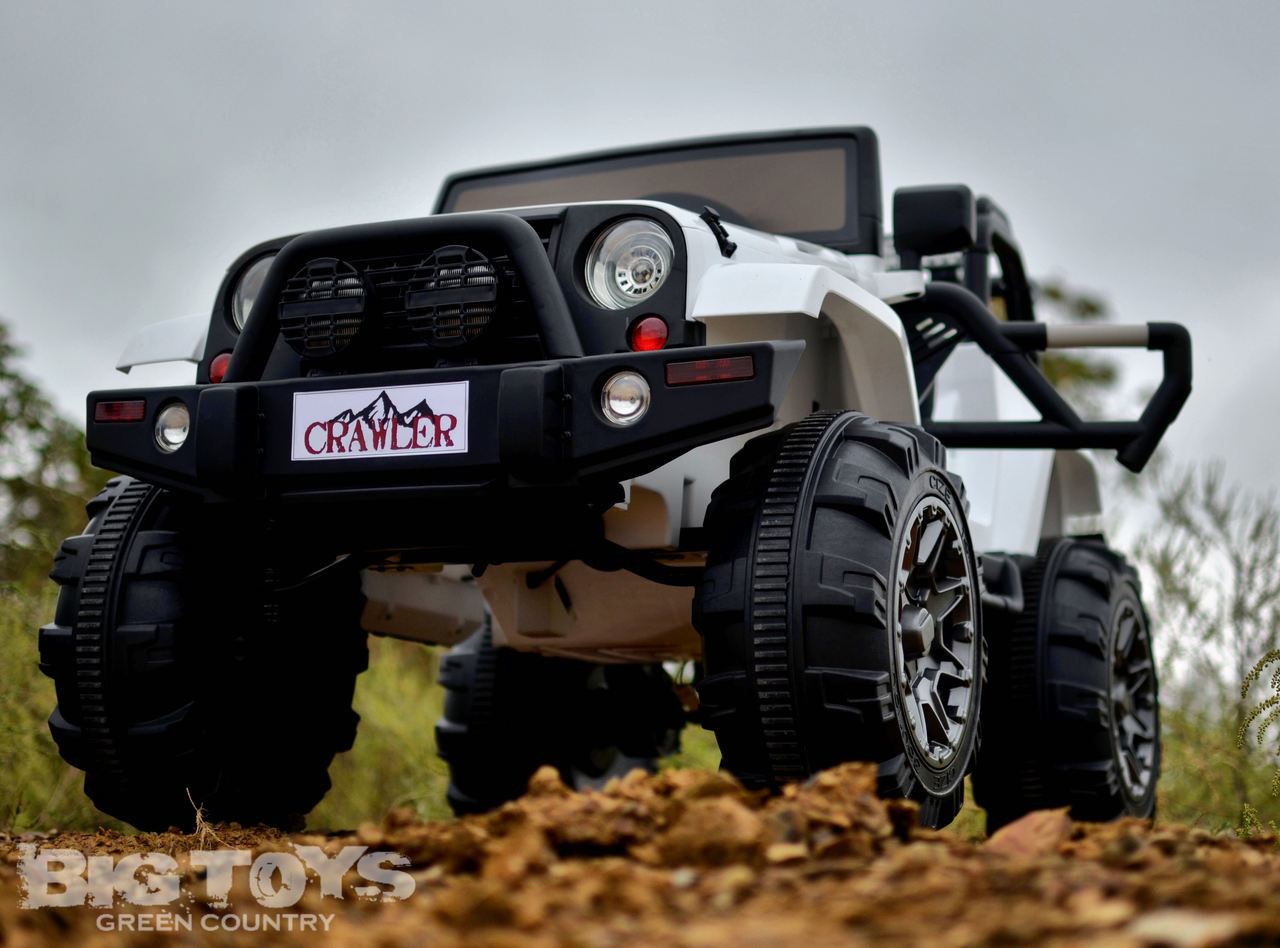 Lifted Ride On Crawler Truck W Big Wheels Parental Rc Remote White Big Toys Green Country