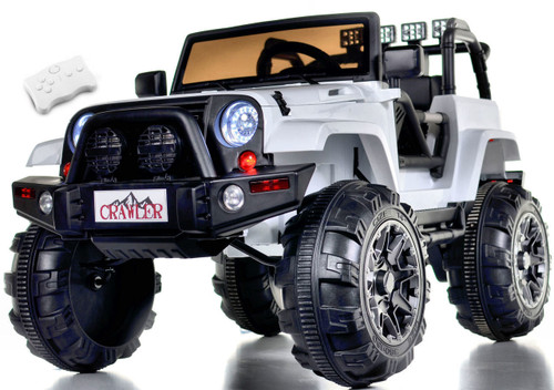 Lifted Ride on Crawler Truck with Big Wheels + Parental RC Remote - white