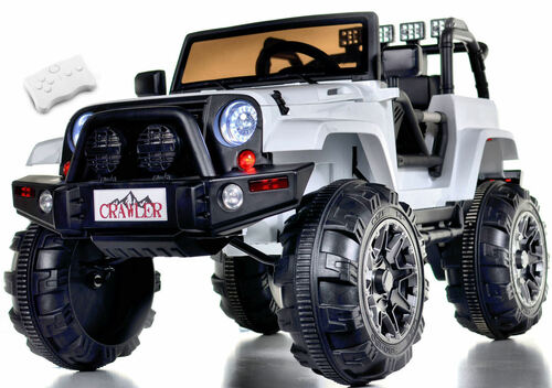 Lifted Ride On Crawler Truck w/ Big Wheels & Parental RC Remote - White