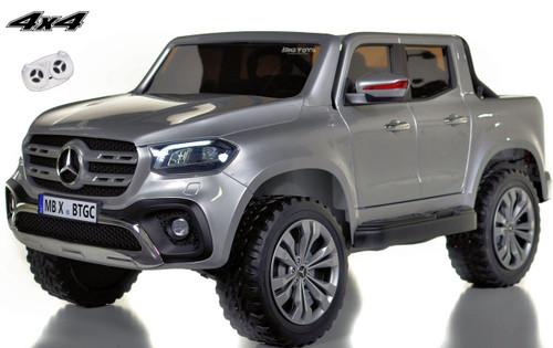 4 wheel drive 4x4 Mercedes X Class Ride On Truck w/ remote control - silver