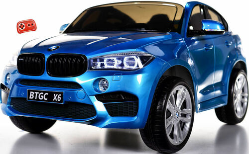 Big 2-Seater BMW X6 Toddler Ride on SUV w/ Rubber Tires & RC Control - Blue
