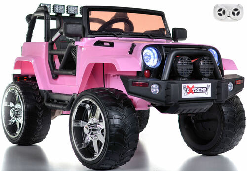 pink lifted crawler ride on parental remote white background