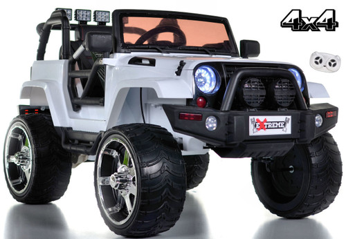 white lifted crawler parental remote rubber tires ride on white background