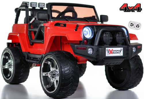 red lifted crawler ride on rubber tires parental remote white background