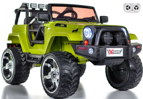 Green Ride on lifted Crawler w/ parental remote rubber tires leather seat white background