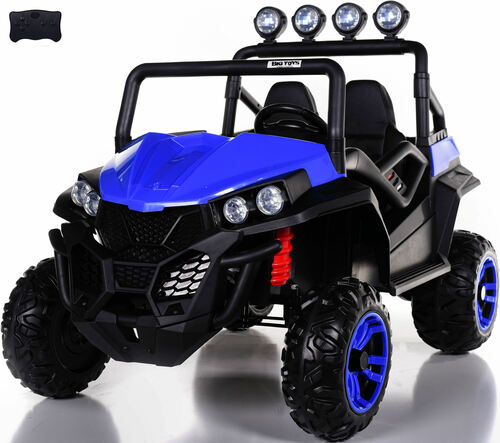 24v Trail Cat 2.0 Ride On UTV w/ Rubber Tires & Leather Seat - Blue