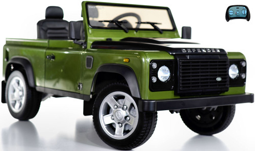 12v 4x4 Land Rover Defender Ride On Truck w/ Rubber Tires - Green
