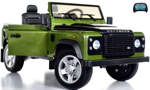 12v Land Rover Defender Ride On Truck w/ Rubber Tires - Green