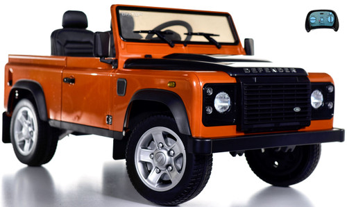 12v 4x4 Land Rover Defender Ride On Truck w/ Rubber Tires - Orange