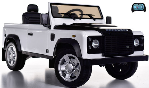 12v 4x4 Land Rover Defender Ride On Truck w/ Rubber Tires - White