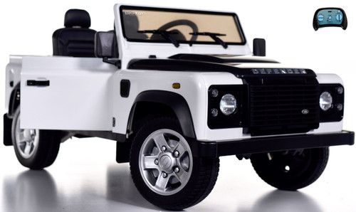 12v Land Rover Defender Ride On Truck w/ Rubber Tires - White