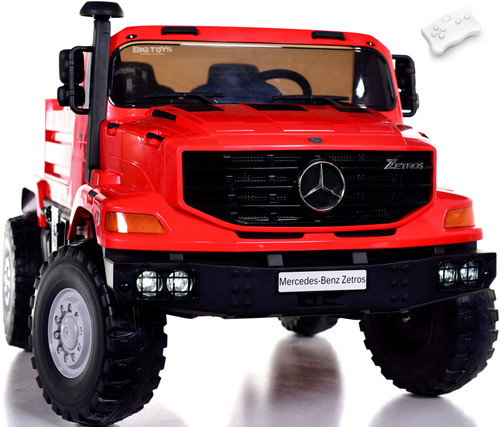 24v Mercedes Big Rig Ride On Truck w/ remote control & Rubber Tires - Red