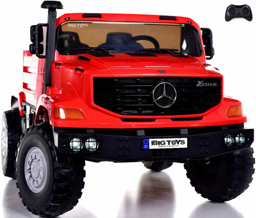 24v Mercedes Big Rig XL Ride On Truck w/ RC & Rubber Tires - Red