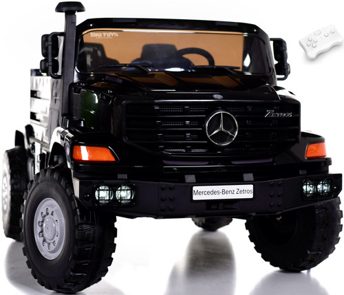 24v Mercedes Big Rig Ride On Truck w/ remote control & Rubber Tires - Black