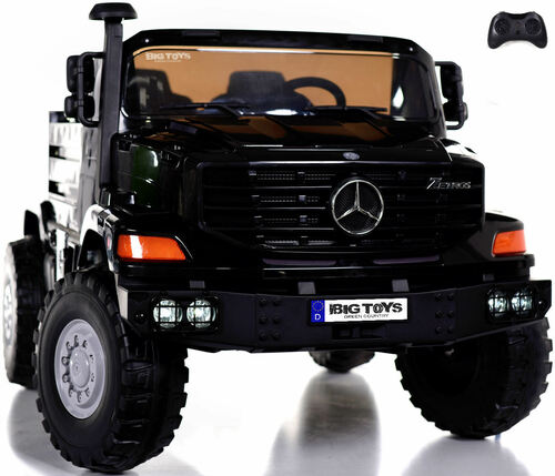 24v Mercedes Big Rig XL Ride On Truck w/ remote control & Rubber Tires - Black