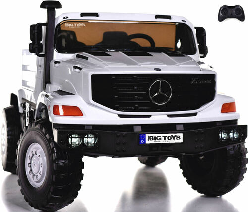 24v Mercedes Big Rig XL Ride On Truck w/ RC & Rubber Tires - White