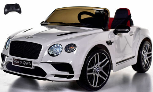 Bentley GT SuperSports Ride On 12V Car w/ Remote Control & Rubber Tires - White