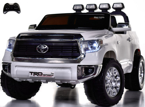 24v Toyota Tundra XL Ride On Truck w/ RUBBER TIRES & LEATHER SEAT - White