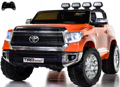 24v Toyota Tundra XL Ride On Truck w/ RUBBER TIRES & LEATHER SEAT - Orange