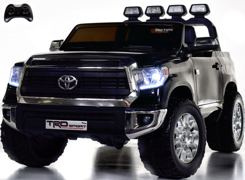 24v Toyota Tundra XL Ride On Truck w/ RUBBER TIRES & LEATHER SEAT - Black