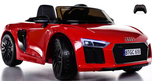 Audi R8 Spyder Kids Ride On car w/ Leather Seat & Rubber Tires - red