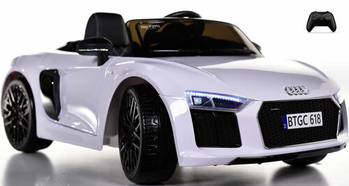Audi R8 Spyder Kids Ride On Car w/ Leather Seat & Rubber Tires - White